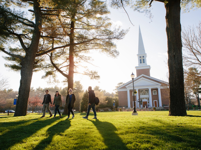 Students walk through campus at Gordon College during the spring of 2016. Photo by Mark Spooner, courtesy of Gordon College