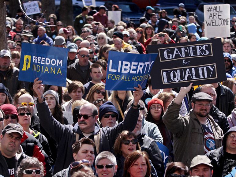 Demonstrators gather at Indianapolis' Monument Circle on March 28, 2015, to protest a religious freedom bill signed by Indiana Gov. Mike Pence. More than 2,000 people gathered at the Indiana capital to protest the bill, saying it would promote discrimination against individuals based on sexual orientation. Photo courtesy of REUTERS/Nate Chute *Editors: This photo may only be republished with RNS-MELLING-OPED, originally transmitted on May 18, 2016.