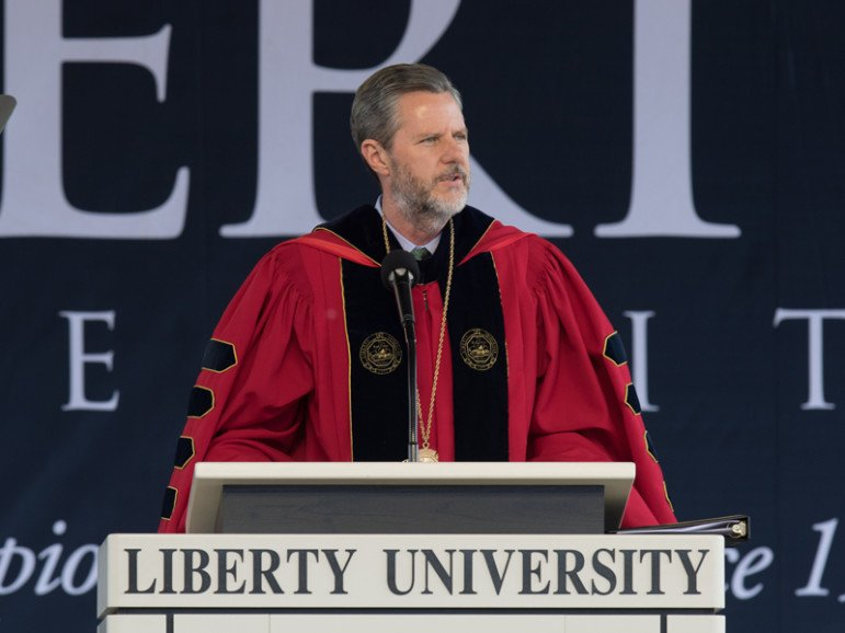 Liberty University president Jerry Falwell Jr. speaks during Liberty University's 43rd Commencement Ceremony on May 14, 2016. Photo by Joel Coleman, courtesy of Liberty University