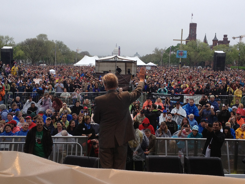 Richard Dawkins, center, waves to the crowd during the 2012 Reason Rally. Photo courtesy of David Silverman