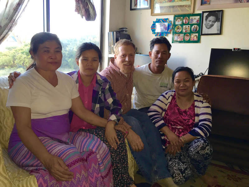 Adult Refugee Bible Study with Paw Wah, Khaw Meh, Andy McCullough, Tun Aye and Wah Nay Htoo. Photo courtesy of Robin McCullough