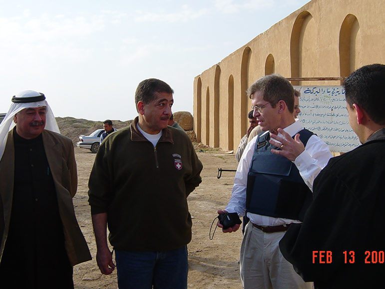 Bob Silverman, center right,  recently named the American Jewish Committee's first U.S. director of Muslim-Jewish relations, here shown in 2004 in Samarra, Iraq, with Falah al-Nakib, governor of Salaheddin Province. After the war in Iraq, Silverman, a career U.S. Foreign Service officer, served as the governance coordinator for the province. Photo courtesy of Rachel Silverman
