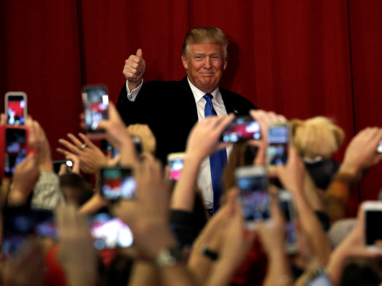 U.S. Republican presidential candidate Donald Trump greets supporters as he arrives to appear with New Jersey Governor Chris Christie at a fundraising event in Lawrenceville, New Jersey, U.S., on May 19, 2016. Photo courtesy of REUTERS/Mike Segar