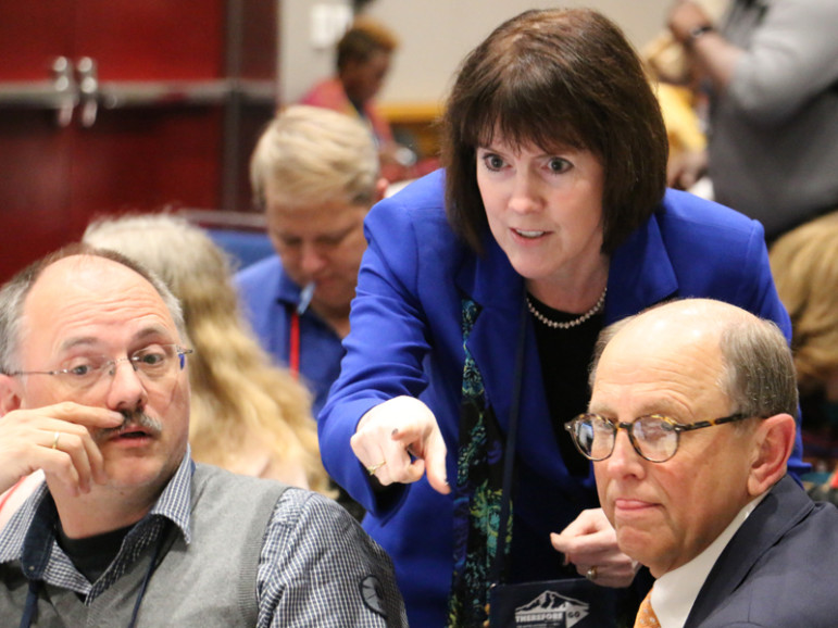 Jessica Vargo, chair of the Finance Administration Committee at the 2016 Methodist General Conference, gives direction during a committee meeting on May 12, 2016, at the Oregon Convention Center in Portland, Ore. Photo courtesy of Rick Wolcott