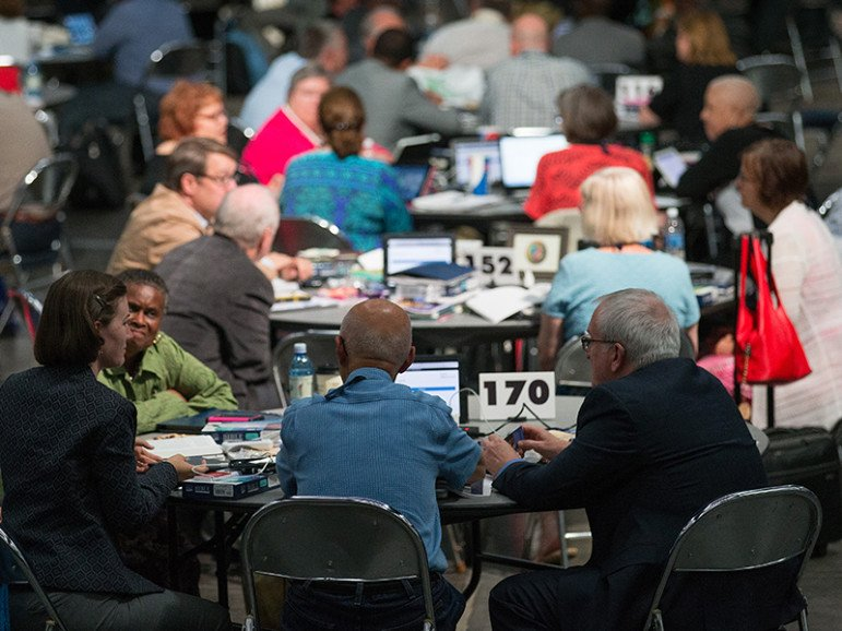 Delegates to the 2016 United Methodist General Conference in Portland, Ore., consider their hopes and dreams for the legislative meeting. Photo by Mike DuBose, UMNS