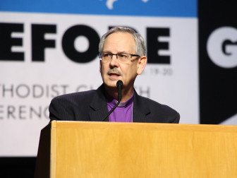 "Bishop Bruce Ough, president of the Council of Bishops, responded to rumors on May 17, 2016, saying the bishops are only discussing ""new structures,"" during the United Methodist General Conference in Portland, Ore. Religion News Service photo by Emily Miller"