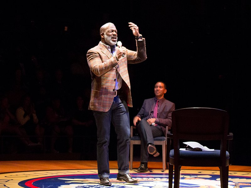 BeBe Winans performs at a special event for Born for This: The BeBe Winans Story, with Charles Randolph-Wright looking on, at Arena Stage at the Mead Center for American Theater. Photo courtesy of Arena Stage at the Mead Center for American Theater