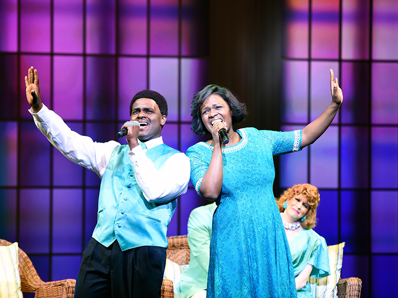 "Left to Right, Juan Winans as BeBe, Deborah Joy Winans as CeCe and Kirsten Wyatt as Tammy Faye Bakker in ""Born for This: The BeBe Winans Story,"" which runs July 1-August 28, 2016 at Arena Stage at the Mead Center for American Theater. Photo by Greg Mooney, courtesy of Alliance Theatre."