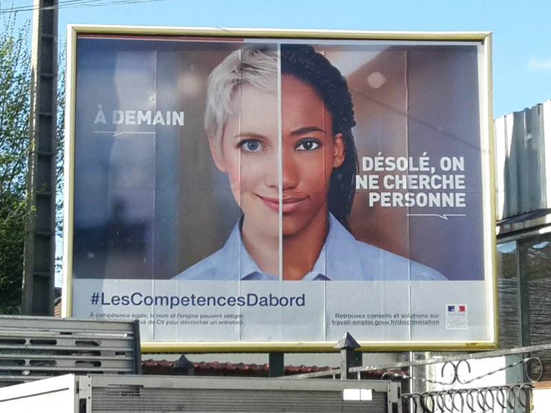 A jobs discrimination poster campaign poster can be seen in France. Photo courtesy of Nadia El Bouga