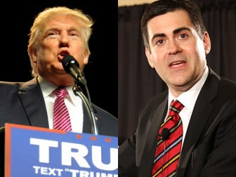 (Left) Republican U.S. presidential candidate Donald Trump speaks to supporters in Charleston, W.Va., on May 5, 2016. Photo courtesy of REUTERS/Chris Tilley/ (Right) Russell Moore leads a June 9, 2014 panel discussion. RNS photo by Adelle M. Banks