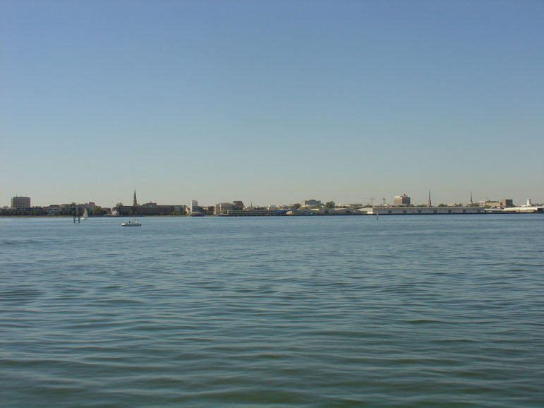 A picture of Charleston's historic district's skyline from Charleston Harbor.