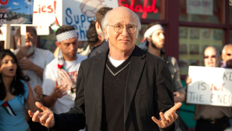 Larry David finds himself embroiled in the Palestinian-Israeli dispute at a chicken restaurant. Credit: HBO.