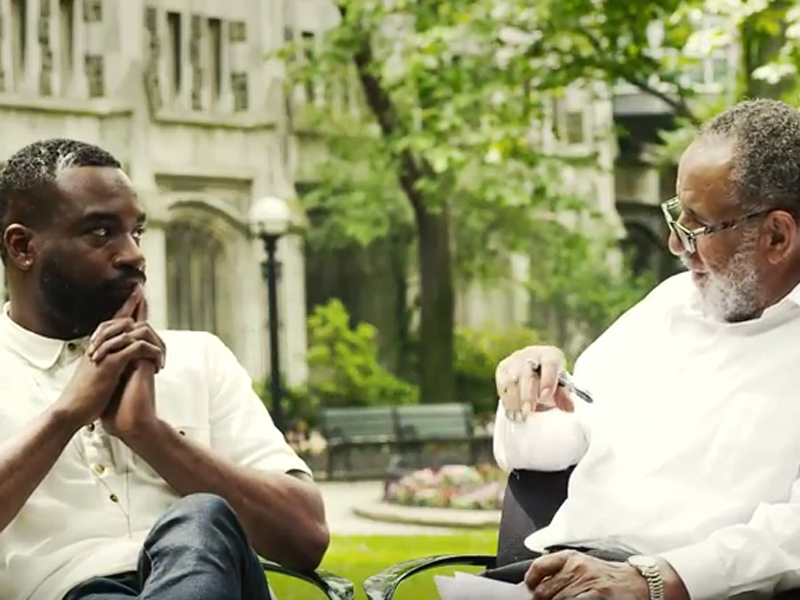 """Darnell Moore with Gil Caldwell on location at Union Theological Seminary in """"From Selma to Stonewall."""" Photo courtesy of the film"""