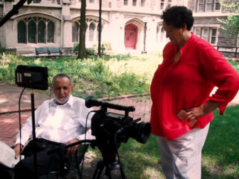 """Gil Galdwell and Marilyn Bennett on location at Union Theological Seminary during """"From Selma to Stonewall."""" Photo courtesy of the film"""