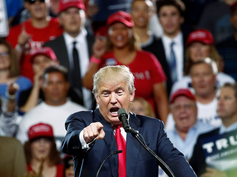 Republican U.S. Presidential candidate Donald Trump speaks at a campaign rally in Phoenix on June 18, 2016. Photo courtesy of REUTERS/Nancy Wiechec *Editors: This photo may only be republished with RNS-TRUMP-EVANGEL, originally transmitted on June 21, 2016.