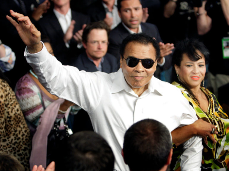 Boxing legend Muhammad Ali stands with his wife Yolanda as he is introduced before the welterweight fight between Floyd Mayweather Jr. and Shane Mosley at the MGM Grand Garden Arena in Las Vegas, Nevada in this May 1, 2010 file photo. Photo courtesy of Reuters/Steve Marcus