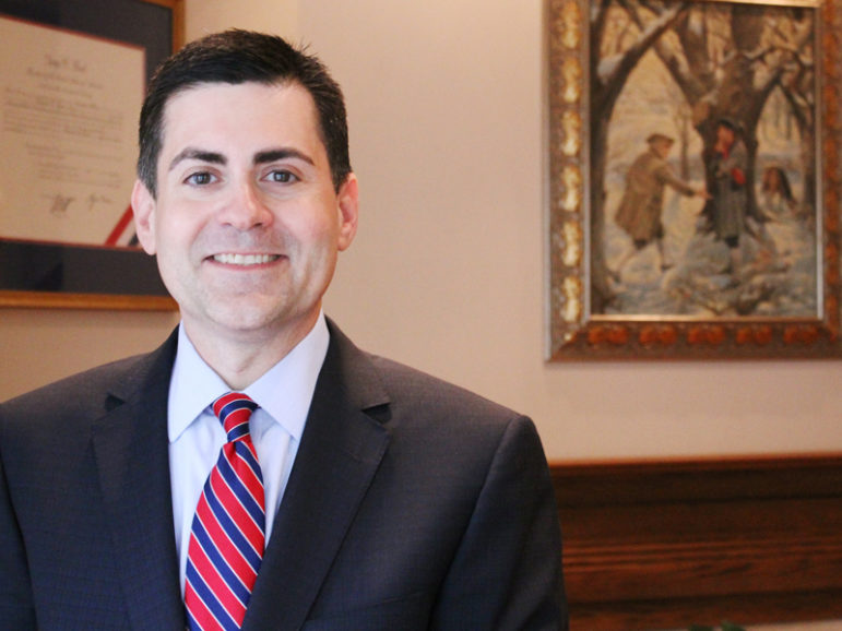 (RNS1-may23) Russell Moore at the Washington offices of the Ethics & Religious Liberty Commission.   RNS photo by Adelle M. Banks.