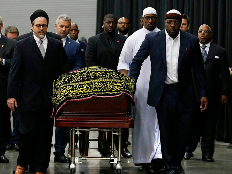 The coffin of late boxing champion Muhammad Ali arrives for a jenazah, an Islamic funeral prayer, in Louisville, Kentucky, on June 9, 2016. Photo courtesy of REUTERS/Lucas Jackson *Editors: This photo may only be republished with RNS-ALI-ISLAM, originally transmitted on June 9, 2016.