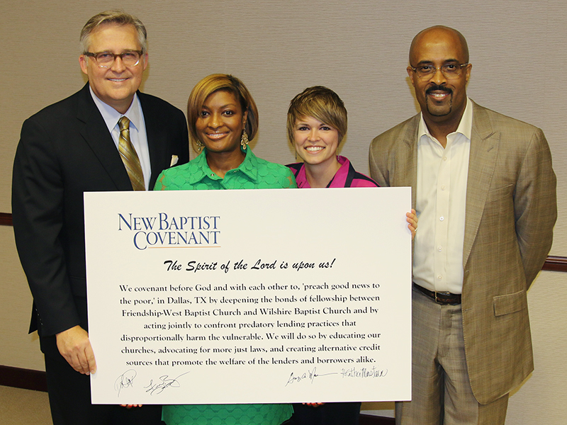New Baptist Covenant Dallas Covenant of Action Partners, left to right, Dr. George Mason, Minister Danielle Ayers, Rev. Heather Mustain, and Dr. Frederick Haynes, III. Photo courtesy of Wes Browning/Sema Films