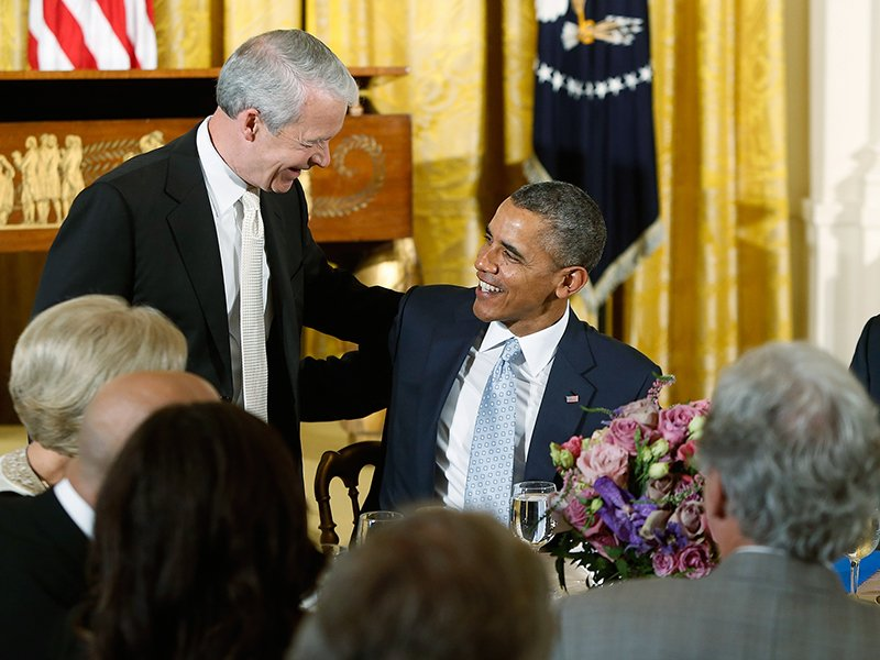 U.S. President Barack Obama greets Joel Hunter, left, senior pastor of Northland Church in Longwood, Florida, after Hunter's prayer during an Easter prayer breakfast in the East Room of the White House in Washington on April 14, 2014. Photo courtesy of REUTERS/Jonathan Ernst *Editors: This photo may only be republished with RNS-HUNTER-QANDA, originally transmitted on June 14, 2016.
