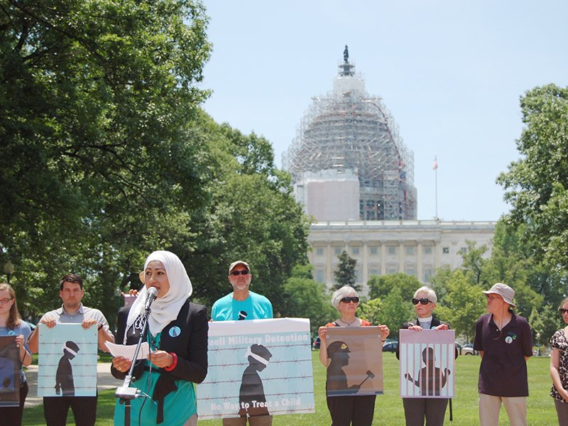 Wardah Khalid speaks at No Way to Treat a Child interfaith vigil on Capitol Hill on June 1, 2015. Photo courtesy of Emily Sajewski, FCNL