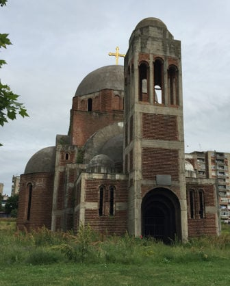 An abandoned Serbian Orthodox Church, which is located just steps from the site of the Interfaith Kosovo conference, serves as a reminder of the new nation's troubled religious past. RNS photo by Kimberly Winston