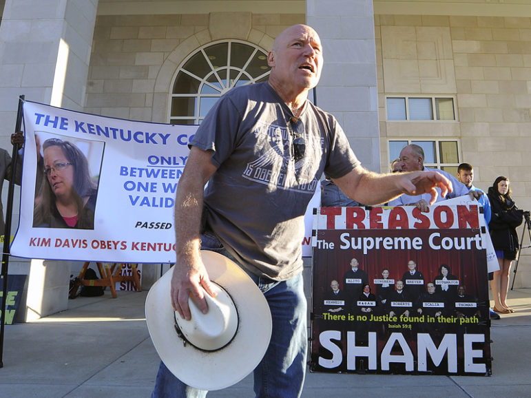 Rusty Thomas of Waco, Texas, preaches outside the Rowan County Clerk's Office in Morehead, Ky., on Sept. 14, 2015. The issuance of marriage licenses to same-sex couples in Kentucky and other states has become the latest focal point in the long-running debate over gay marriage, which became legal nationwide after a U.S. Supreme Court decision in June. Photo courtesy of REUTERS/Chris Tilley *Editors: This photo may only be republished with RNS-MONTGOMERY-OPED, originally transmitted on June 8, 2016.