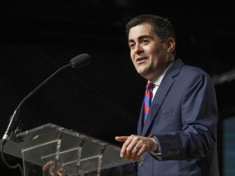 Russell Moore, president of the Ethics & Religious Liberty Commission, gives the entity's report during the annual meeting of the Southern Baptist Convention on June 15, 2016 in St. Louis. By Adam Covington, courtesy of Baptist Press