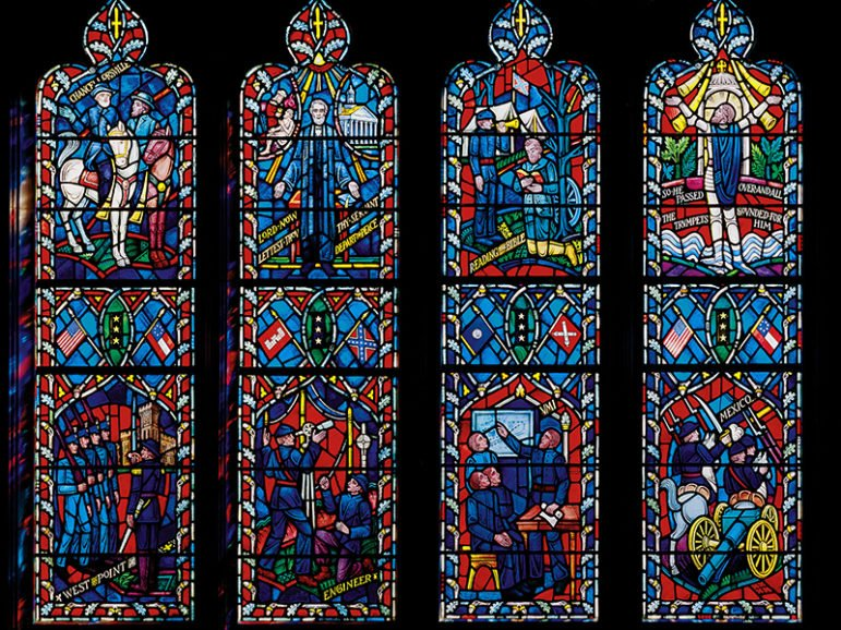 Stained-glass windows honoring Confederate Generals Robert Lee and Stonewall Jackson will be removed from the Washington National Cathedral. In August 2016, the cathedral quietly removed the panels depicting the Confederate flag and replaced them with red and blue panes to match surrounding glass. Photo courtesy of Washington National Cathedral