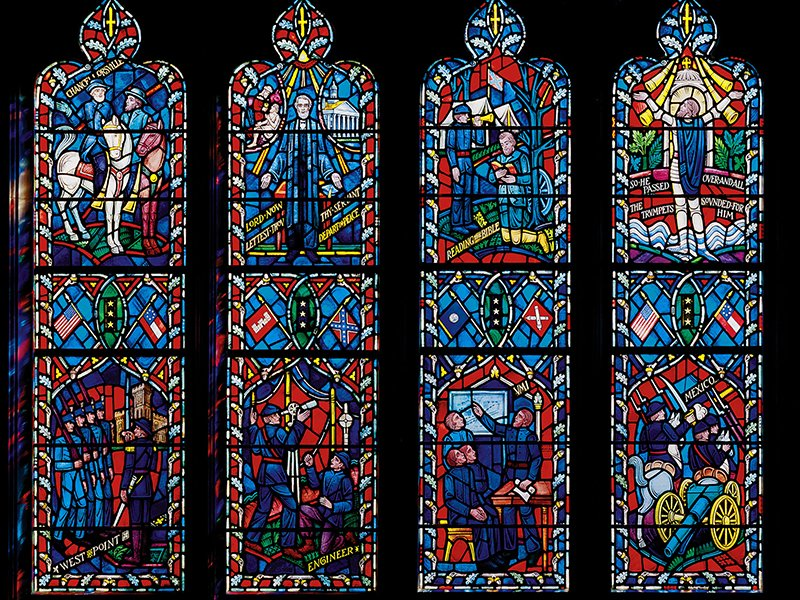 A stained-glass window honoring Confederate General Stonewall Jackson installed at the Washington National Cathedral. Photo courtesy of Washington National Cathedral