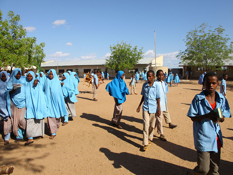 Girls at a school in Garissa, Kenya, seen wearing hijab