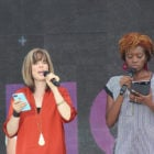 Christian author Ann Voskamp, left, and poet Amena Brown
