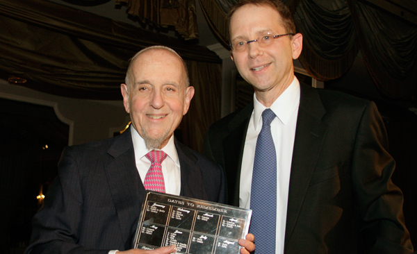 Rabbi Haskel Lookstein, left, at a 2015 Jewish Week gala in his honor. Photo courtesy of The Jewish Week