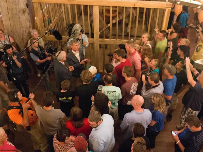 "Bill Nye, known from his 1990s TV show as ""The Science Guy,"" tours the exhibits aboard the full-scale replica of Noah's ark at the Ark Encounter theme park in Williamstown, Ky., with Ken Ham, president and CEO of Answers in Genesis. Photo courtesy of Answers in Genesis"