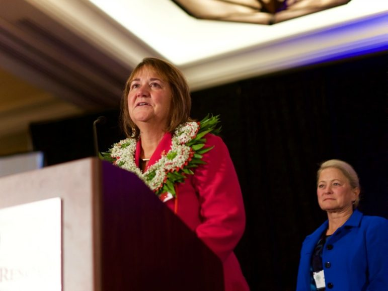 On the 17th ballot, the Western Jurisdictional Conference elected the Rev. Karen Oliveto to the episcopacy. Oliveto is senior pastor at Glide Memorial United Methodist Church in San Francisco. Photo courtesy of Patrick Scriven, United Methodist Church PNW Conference.