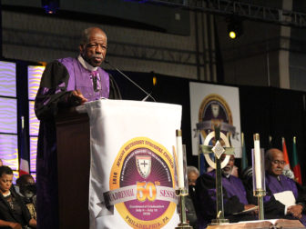 Bishop Theodore Larry Kirkland delivered the quadrennial sermon during the 50th quadrennial General Conference of the African Methodist Episcopal Church on July 6, 2016 in Philadelphia. RNS photo by Adelle M. Banks