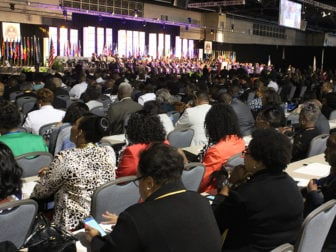 Thousands of members of the African Methodist Episcopal Church attended the opening worship service of the 50th quadrennial General Conference of the African Methodist Episcopal Church on July 6, 2016 in Philadelphia. RNS photo by Adelle M. Banks
