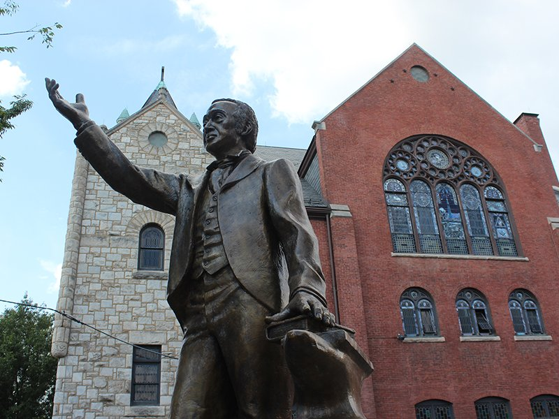 Bronze statue of Richard Allen, founder of the African Methodist Episcopal Church, on the property of Mother Bethel AME Church in Philadelphia on July 6, 2016. RNS photo by Adelle M. Banks
