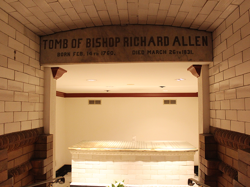 The tomb of Richard Allen, founder of the African Methodist Episcopal Church, is located in the Richard Allen Museum of Mother Bethel AME Church in Philadelphia. RNS photo by Adelle M. Banks