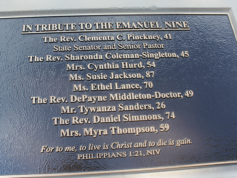 Plaque honoring the nine worshippers killed during a Bible study in June 2015 at Mother Emanuel African Methodist Episcopal Church in Charleston, S.C. It is included in the courtyard of a bronze statue of Richard Allen, founder of the AME Church, in Philadelphia, that was unveiled in July 2016. RNS photo by Adelle M. Banks