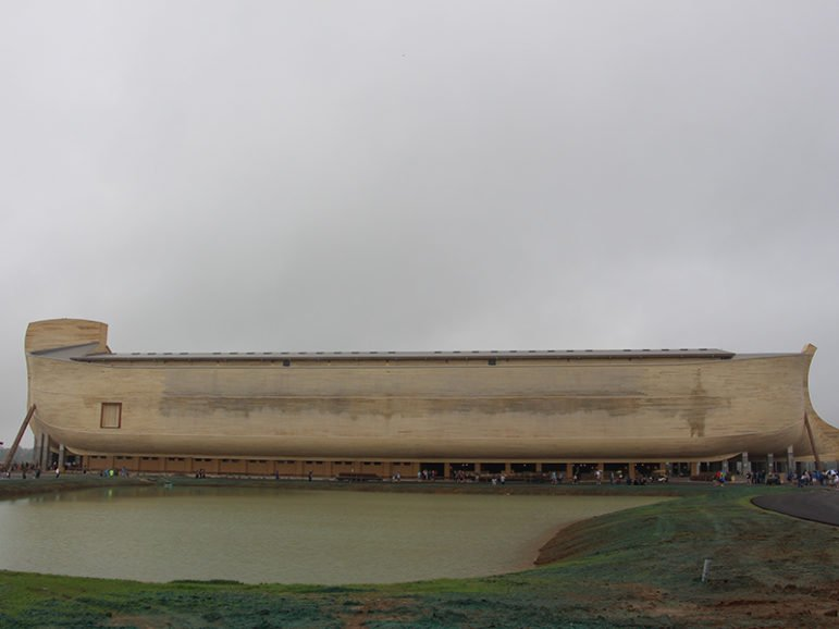 The full-scale Noah's Ark replica at the Ark Encounter during a preview of the park on July 5, 2016, in Williamstown, Ky. At 510 feet long, 85 feet wide and 51 feet high, based on the measurements in cubits found in the first few chapters of Genesis, the ark is the largest timber-frame structure in the world, according to the Ark Encounter. RNS photo by Emily McFarlan Miller