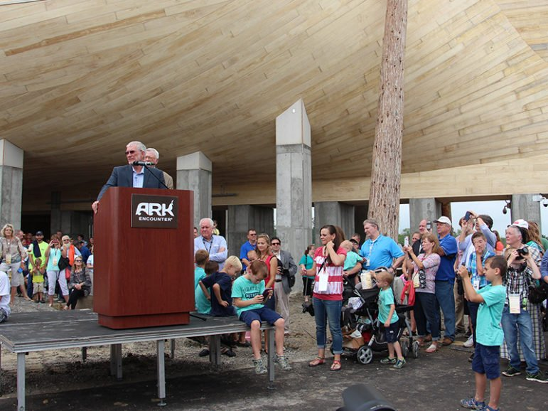 Answers in Genesis President and co-founder Ken Ham speaks during a press conference, ringed by supporters, before a ribbon-cutting event at the foot of the full-scale Noah's Ark replica at the Ark Encounter on July 5, 2016, in Williamstown, Ky. RNS photo by Emily McFarlan Miller