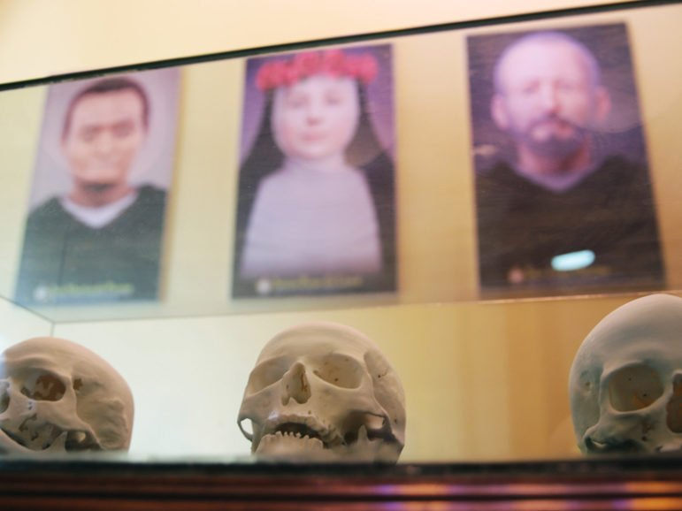 The skulls of, left to right, St. Martin of Porres, St. Rosa of Lima and St. John Macias were taken under high security and scanned as part of a 3-D project in Brazil. Photo courtesy of Foco News Agency