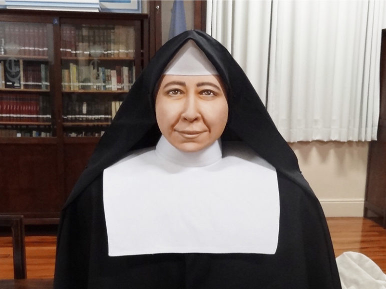The real-life bust of St. Paulina produced by 3D printing by Brazilian scientists Cicero Moraes and Dr. Paulo Miamoto, painted by Mari Bueno. Photo courtesy of Foco News Agency