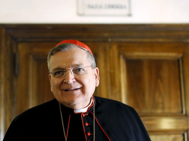 "Cardinal Raymond Leo Burke attends a news conference by the conservative Catholic group ""Voice of the Family"" in Rome on Oct. 15, 2015. Photo courtesy of REUTERS/Alessandro Bianchi"