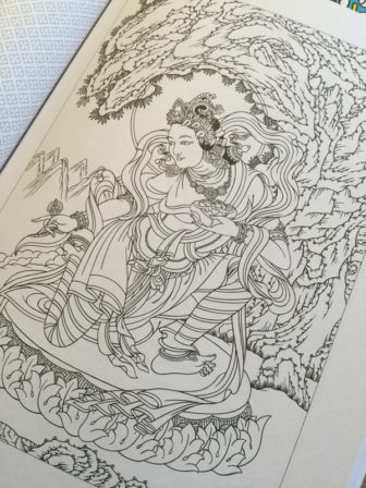 "Robert Beer offers pictures of Buddhist luminaries in ""Buddhist Art Coloring Book 2."" RNS photo by Kimberly Winston"
