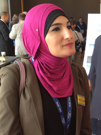 Linda Sarsour is a Bernie Sanders delegate at the Democratic National Convention in Philadelphia who co-founded a Muslim advocacy group, MPower Change. Sarsour spoke to RNS after a breakfast meeting of the New York State delegation. Photo by Ian West/DeSales Media