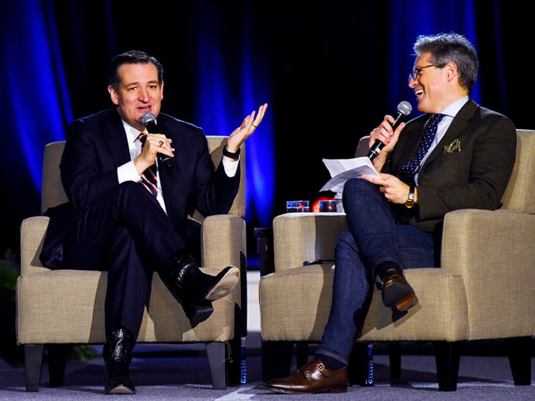 Ted Cruz, left, speaks with moderator Eric Metaxas at the National Religious Broadcasters Annual Convention at Oryland in Nashville, Tenn., on Feb. 26, 2016. Photo courtesy of REUTERS/Harrison McClary *Editors: This photo may only be republished with RNS-FEA-OPED, originally transmitted on July 13, 2016.