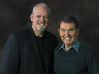 Dr. Tim LaHaye, right, with co-author, Jerry Jenkins. Photo courtesy of Tyndale Media Center