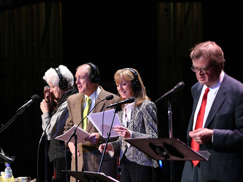 A Prairie Home Companion Host Garrison Keillor, far right, performs the show with Tim Russell, Sue Scott and Fred Newman. Photo courtesy of Prairie Home Productions
